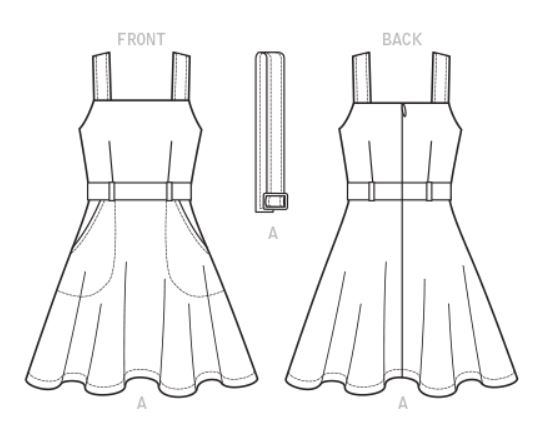 McCalls 7626 dress line drawing