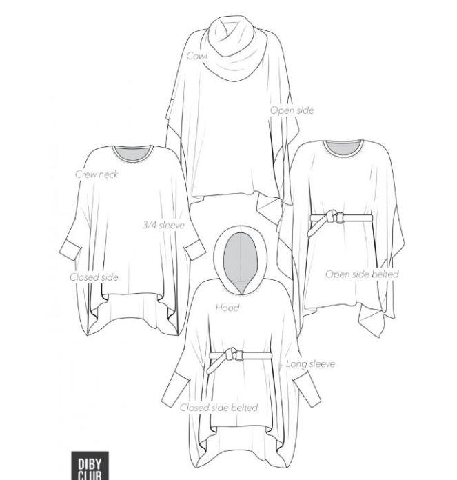 DIBY Club Mae poncho sweater line drawing