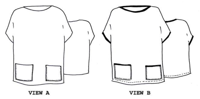 Tessuti Amara vest line drawing